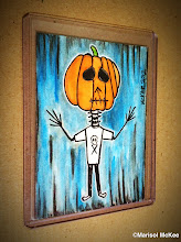 Photo: Niño Pumpkin. 2.5 x 3.5 inches or 6 cm x 9 cm. Watercolor and ink on 110 lb. Bristol paper. Signed on the front; title and signature on the back. Sealed with a matte finish. Comes in a clear rigid plastic top-loader. ©Marisol McKee