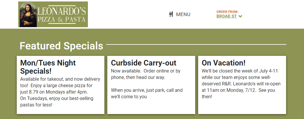 Feature cards with a list of weekly specials, carry-out instructions, and vacation info