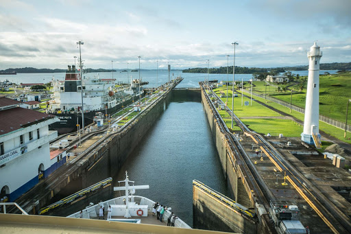 panama-canal-third-lock.jpg - View of the third of three locks on the Atlantic side of the Panama Canal.