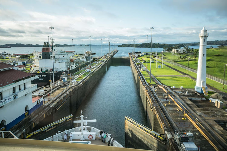 View of the third of three locks on the Atlantic side of the Panama Canal.