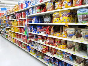 Photo: Find the dog treat aisle - I didn't know Walmart had such a HUGE pet section