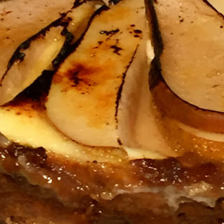 Bruleed Almond Ginger Pear Cheesecake