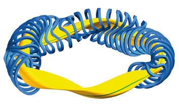 Photo: Modulare Spulen (blau) und Plasma (gelb) des Wendelstein 7-X