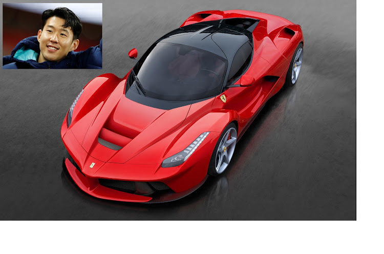 It took Son Heung-Min nine hours on the field to earn his R20m LaFerrari. Picture: SUPPLIED, Inset: REUTERS
