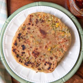 Stuffed Makai Paratha Recipe (Corn and Coriander Stuffed Flat Bread)