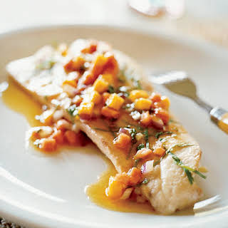 Poached Red Snapper with Papaya and Mango Sauce Vierge.