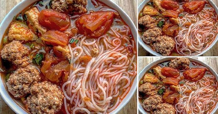 Bún riêu tôm thịt đậm đà thơm ngon với công thức đơn giản
