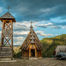 by Mario Horvat - City,  Street & Park  Historic Districts ( car, clouds, tower, wooden, sky, church, village, historic,  )