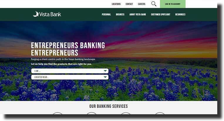 Vista Bank popular web page design
