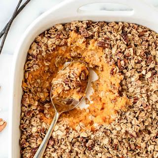 Healthy Sweet Potato Casserole with Crunchy Oat Topping