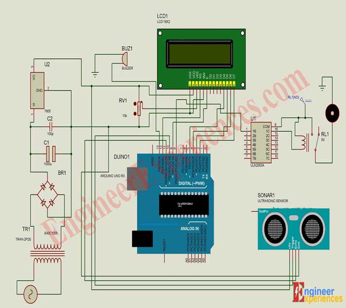 circuit diagram of Arduino based automatic pump water level controller using ultrasonic sensor