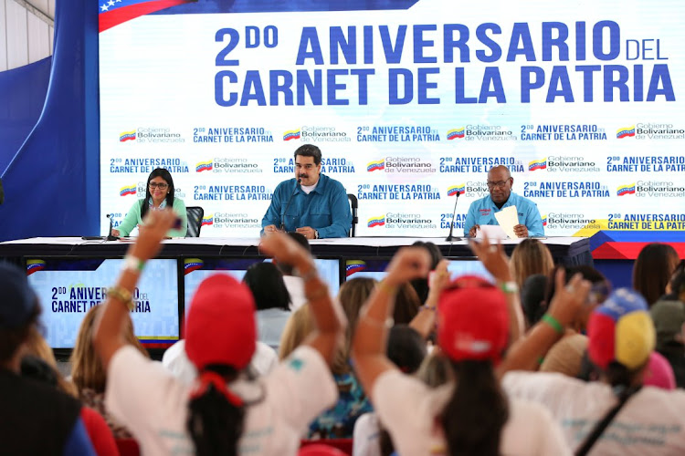 Venezuela's President Nicolás Maduro speaks during a meeting with supporters in Caracas, Venezuela, on January 22 2019. Picture: MIRAFLORES PALACE/HANDOUT VIA REUTERS