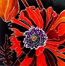 Photo: 101, Нетронина Наталья, Красные Мак(2), Витражные краски, контуры, фольгированный картон (витражные картины), 33х33см,