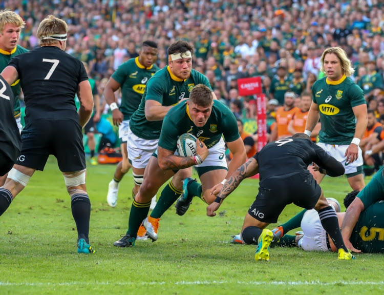 Malcolm Marx of the MTN Springboks on the drive during the Rugby Championship match between South Africa and New Zealand at Loftus Versfeld on October 06, 2018 in Pretoria, South Africa.