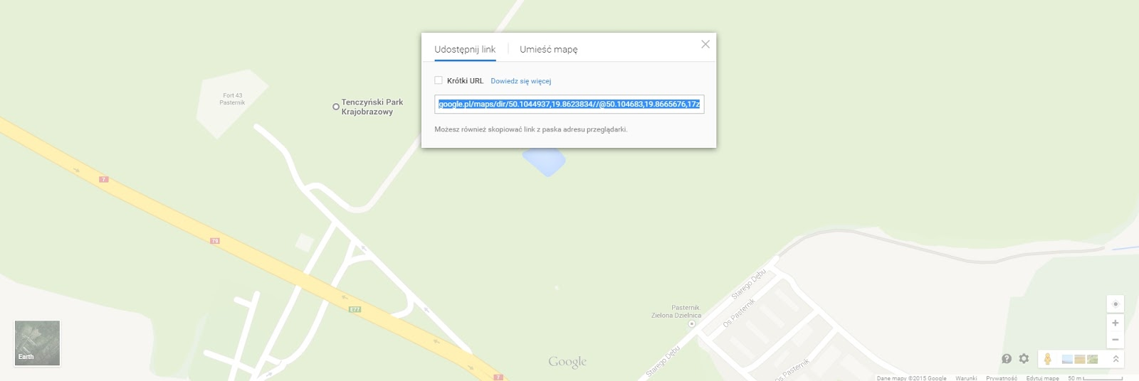 Z wyświetlonego okienka, skopiuj adres mapy i wklej do formularza pod instrukcją: