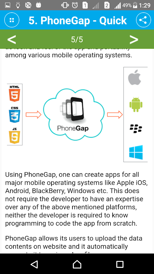 Learn PhoneGap- screenshot