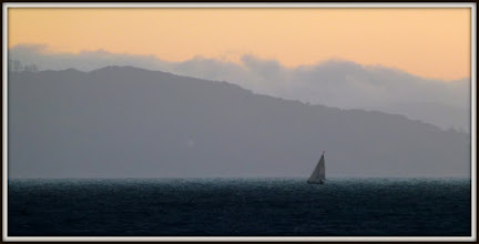 Photo: A brave little sailboat all alone on the Bay
