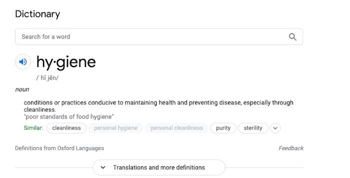 Hygiene definition.