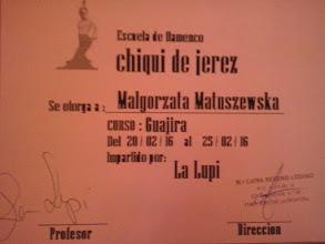 Photo: 2016r. kurs flamenco Guajira con abanico prof. La Lupi; (9 godzin); Escuela de Flamenco Chiqui de Jerez podczas XX Festival de Jerez