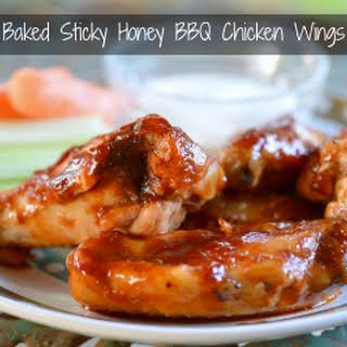 Baked Sticky Honey BBQ Chicken Wings.