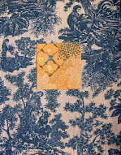 """Photo: Orange and Blue III 14"""" x 18"""" Hand embroidery, beadworK and paint on linen with vintage toile fabric. All rights reserved c. Karin Birch 2013"""