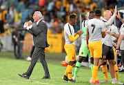 Kaizer Chiefs coach Ernst Middendorp and his bench celebrate   Leonardo Castro's goal during their Absa Premiership  match against Highlands Park in Durban on Saturday.