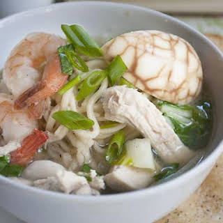 Ginger Tea Soup with Chinese Noodles.