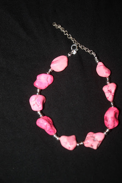 Photo: Pink howlite and silver bracelet.