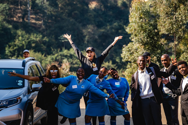 South African-born actress Charlize Theron interacted visited Dlanathi in Pietermaritzburg, one of nine charity project she runs in South Africa where she engaged with local children about social issues.