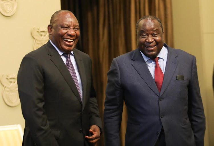 President Cyril Ramaphosa with Tito Mboweni after the latter's appointment as finance minister on Tuesday, October 9, in Cape Town.