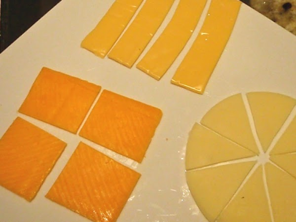 Cut Cheese into 2 inch squares of at least 5 layers of cheese or...