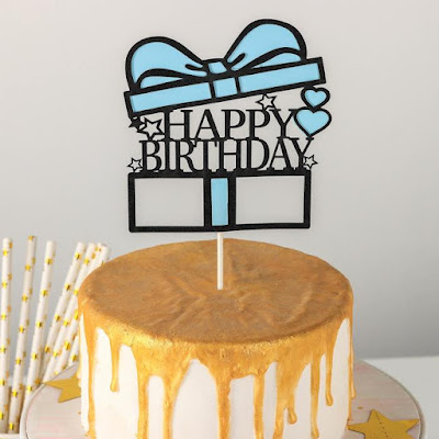 Топпер на торт «Счастливого дня рождения. Коробка», 18×12,5 см, цвет голубой