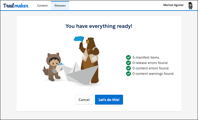 Publishing confirmation screen in Trailmaker Release