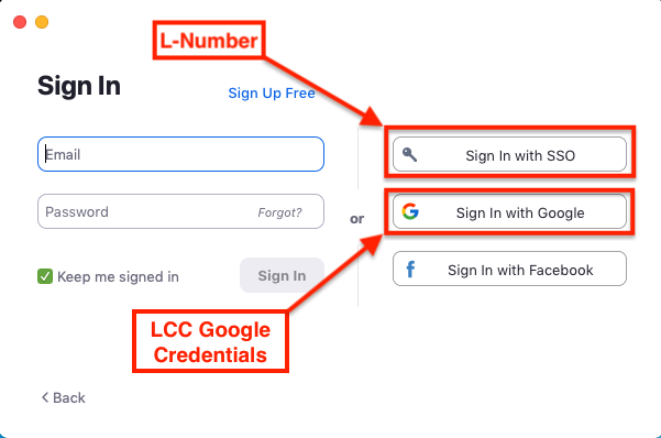 sign in with sso button highlighted with L number description, sign in with google button highlighted with lcc google credentials description