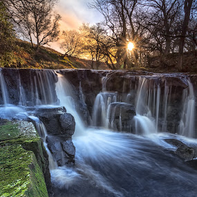 Nelly Ayre Foss by Phil Green - Landscapes Waterscapes ( north yorkshire, rocks, waterfall, sunset, goathland )