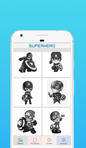Superhero Coloring By Number - Pixel Art