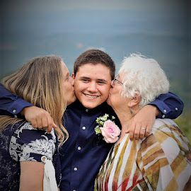 Groom With Mom And Grandma by Jessica Rose - Wedding Groom ( groom, grandma, kisses, mom, wedding, family,  )