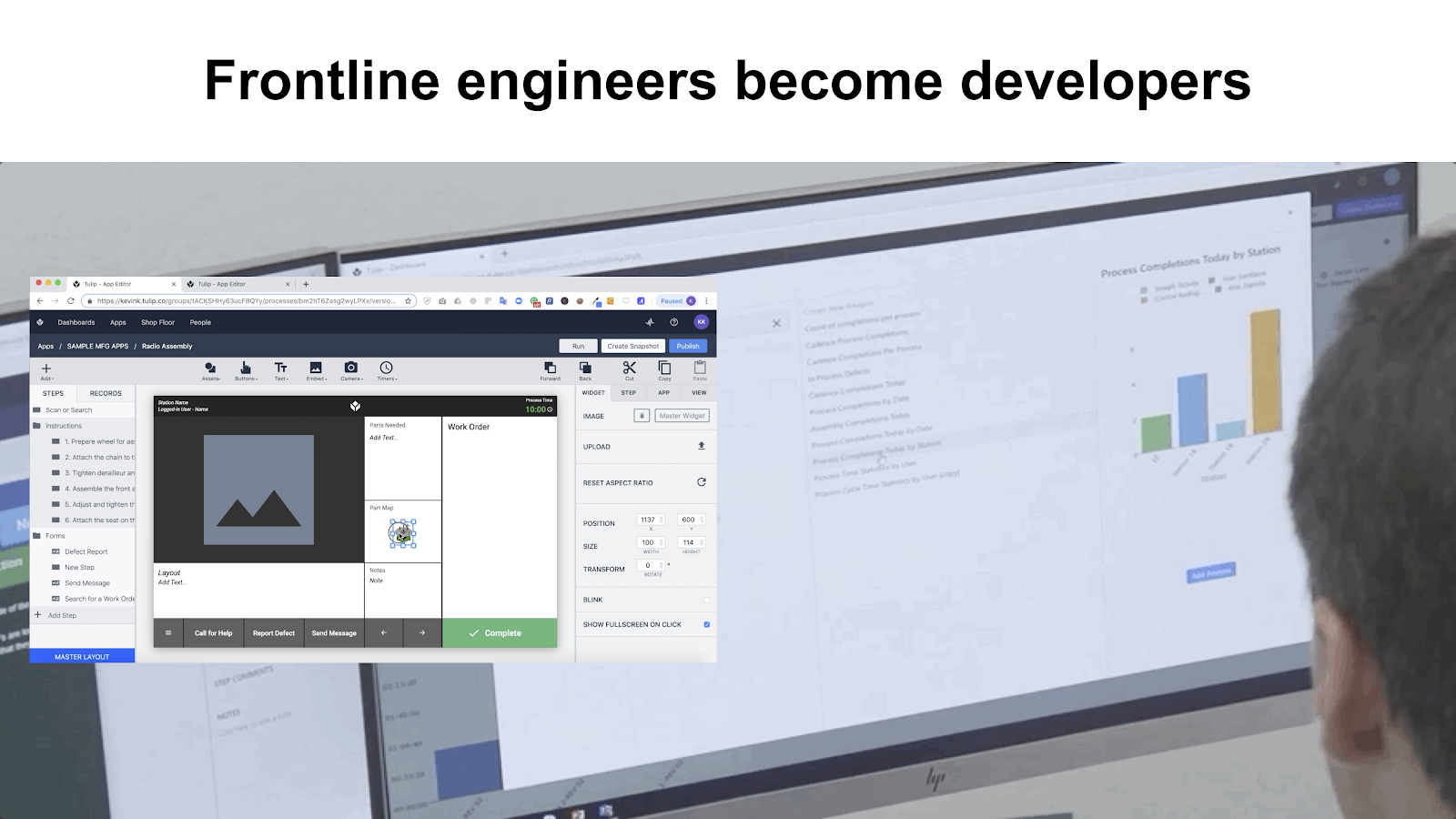 image of front line engineer using a no code platform