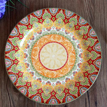 Bright coloured dinner plate