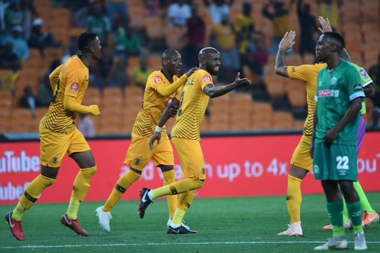 Goal scorer Ramahle Mphahlele celebrates with Khama Billiat during the Absa Premiership match between Kaizer Chiefs and AmaZulu FC at FNB Stadium