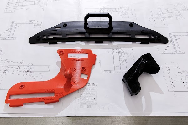 Printed parts on top of technical drawings