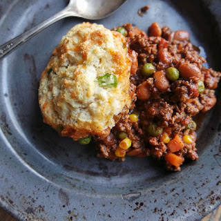 Cowboy Casserole with Cheddar Jalapeño Biscuit Crust.