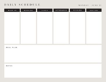 Daily Schedule & Meal Plan - Planner Template