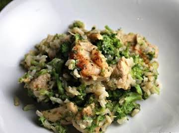 Skillet Parmesan Chicken, Broccoli and Rice