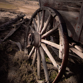 Wheel from the Past by Gary Hanson - Artistic Objects Antiques ( old, wheel, colorado, prairie, weathered,  )