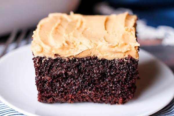 Moist Chocolate Cake With Peanut Butter Frosting.