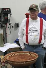 Photo: Bob Grudberg with his large, segmented bowl.