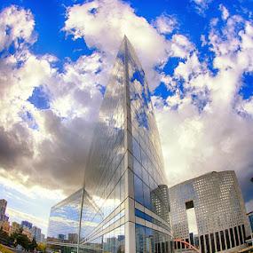 La Defense by Luca Libralato - City,  Street & Park  Skylines ( clouds, paris, skyline, la defense, offices, buildings, france )