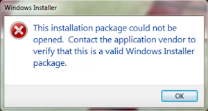 This installation package could not be opened. Contact the application vendor to verify that this is a valid Windows Installer package.