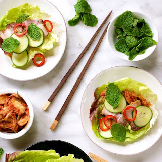 Spicy Pork Belly, Cucumber and Kimchi Lettuce Wraps